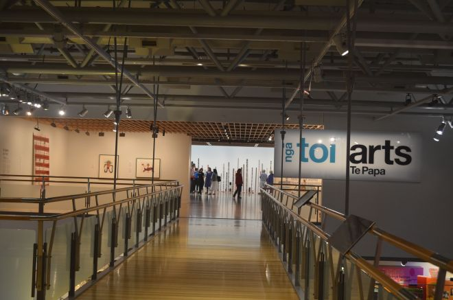 Photos of exhibits at Te Papa showing how NZ was formed, Maori Culture and also the Art Gallery on Level Five.