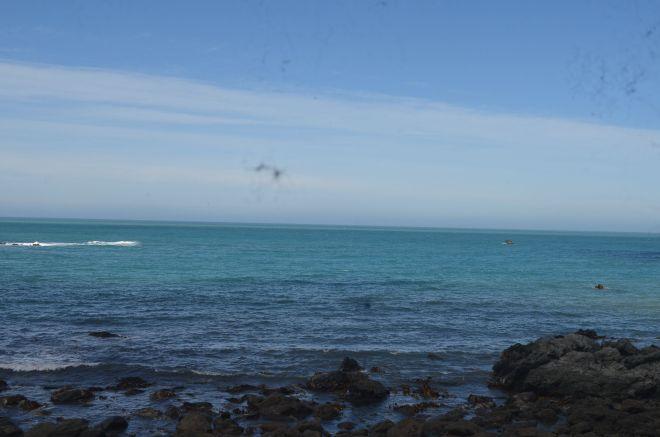 The Pacific Ocean and the coastline near Kaikoura