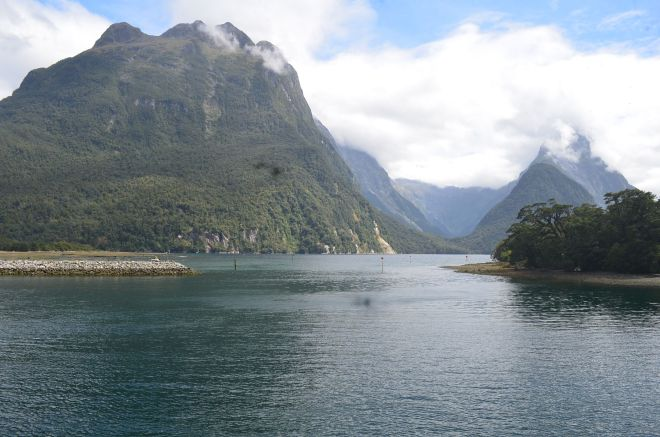 Our first view of Milford Sound with Mitre Peak on the left