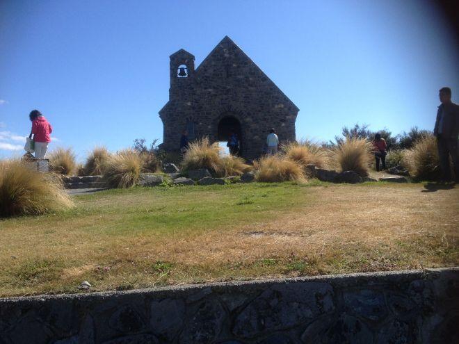 Lake Tekapo and the Church of the Good Shepherd.
