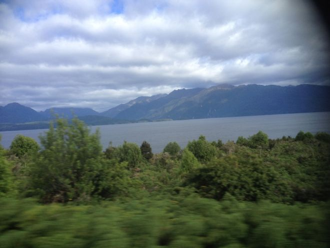 Lake Te Anau at the boundary of the National Park