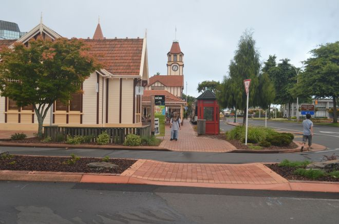 The peaceful English town scene Vs. the violent  volcanic scenery of Rotorua